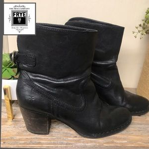 Frye Lucinda Short Boot Black Leather